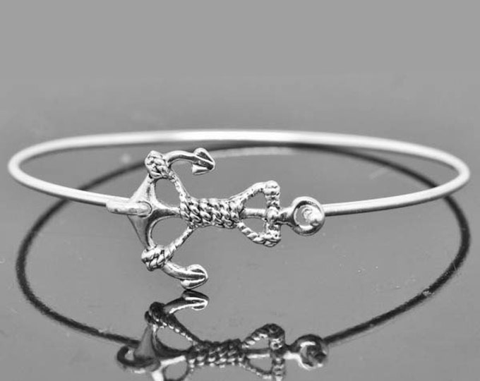 Anchor Bangle, Sterling Silver Bangle, Anchor Bracelet, Stackable Bangle, Bridesmaid Bangle, Bridesmaid jewelry, Bridal Bracelet