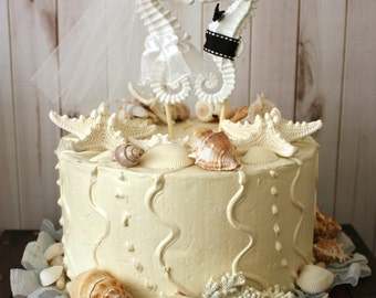 Kissing Seahorse Wedding Cake Topper Beach Themed Bride Groom