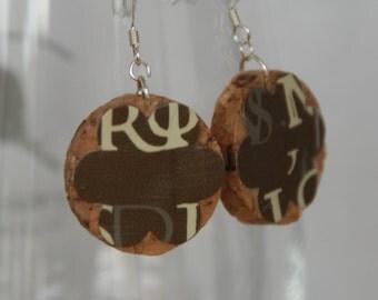 Letter Wine Cork Earrings