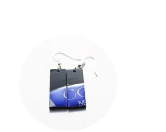 rectangle earrings blue earrings music jewelry hypoallergenic colorful earrings funky vinyl record earrings recycled jewelry simple earrings