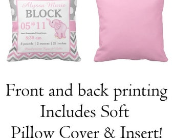Elephant Pink Birth Announcement Pillow Cover and Insert