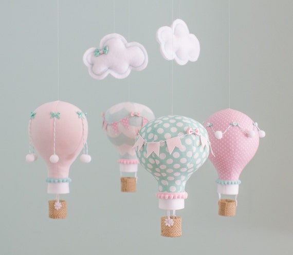 Pink, Aqua Baby Mobile, Hot Air Balloon, Nursery Decor, Custom Baby Mobile, personalized, Baby Shower Gift, Made to Order