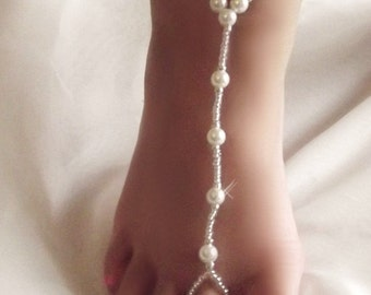 Childrens stretch pearl glass bead barefoot sandals (1 pair). white beads and vibrant Toho seed beads, wedding, beach