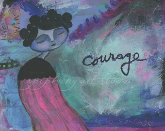 "SALE Mixed Media Print 9"" x 12"" Giclee Word Art Wall Decor - ""Courage"" Divine Feminine, Courageous Brave Girl, Wind Swept, Ocean Tide Purple"