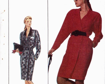 PATTERN Simplicity 8824 Coatdress/Dress with mock wrap front notched collar Size 14 uncut