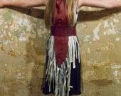 TMD: unique leather fringe bib necklace/dress. osfa or custom made. runway discount
