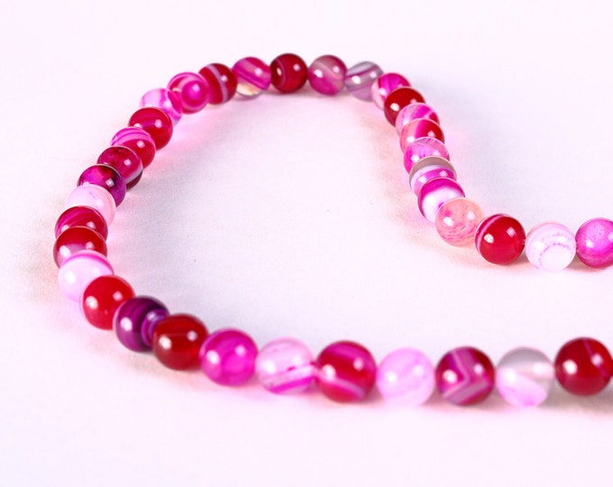 """15"""" 6mm Mixed color Pink fuchsia white striped agate round gemstone beads - 60 pieces (1210) - Flat rate shipping"""
