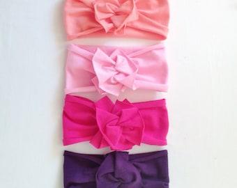 Flower Jersey Headband / Single / Baby Girl Headwrap // Infant // Newborn // Adult // Floral // Pink // Mint // Purple // Gray // Black :FL