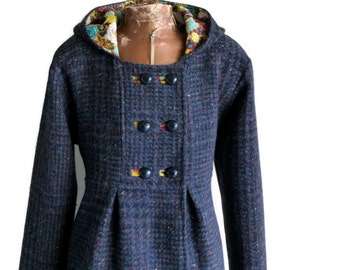 Winter Swing Coat in Corduroy Wool or Tweed Optional Hood Fully Lined Jacket for Winter Outerwear