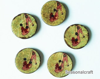 5Pcs Natural Coconut Shell Buttons Wood, Crystal Shoes Coconut shell,20mm Buttons (FN93)