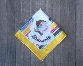 Red/Yellow/Blue Stripe Vintage Brownie Scout Hankie~1950s Brownie Catalog Handkerchief with  Beanie Girl; Free Ship/U.S.