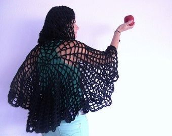 spiderweb hoodie shawl, christmas sales, black capelet, gift for woman, Unique shawl, christmas gifts for her, new year shawl