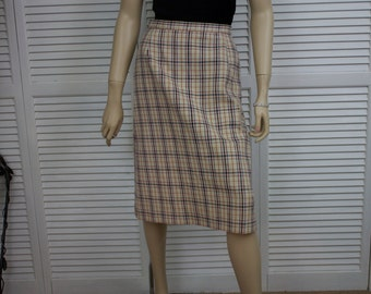 Vintage A Line Ivory Plaid Skirt by Country Sophisticates by Pendleton  Size 10