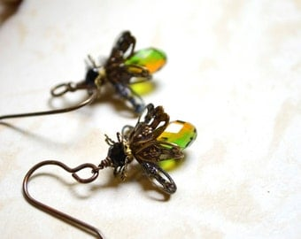 Firefly Earrings with green and amber Swarovski Crystal beads and Brass Ear Wires, Lightning Bugs