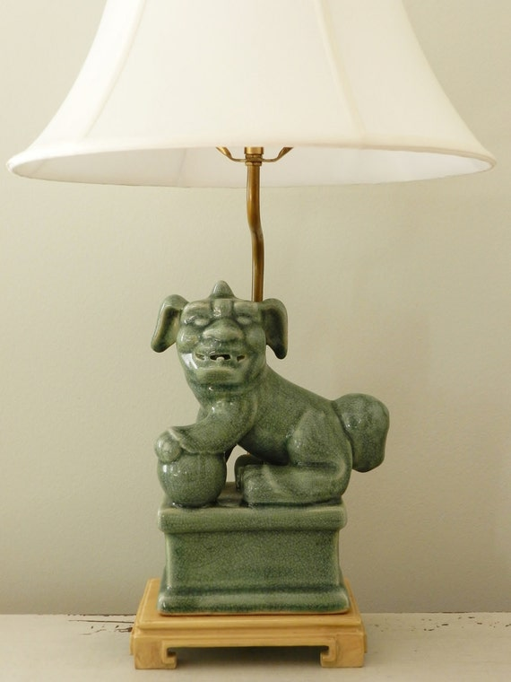 Vintage Foo Dog Lamp End Table Lighting Guardian Lion Celadon