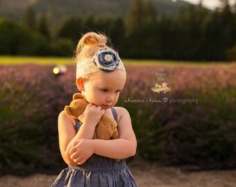 Denim & Lace Headband - Cream - Pearl Rhinestone - Rustic Wedding Bridal Flower Girl Shabby Chic
