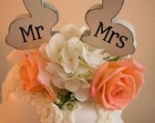 mr and mrs Love Bunnies Bunny Rabbit cake topper, custom, party favor, shower favors, wedding, home decor, spring decor