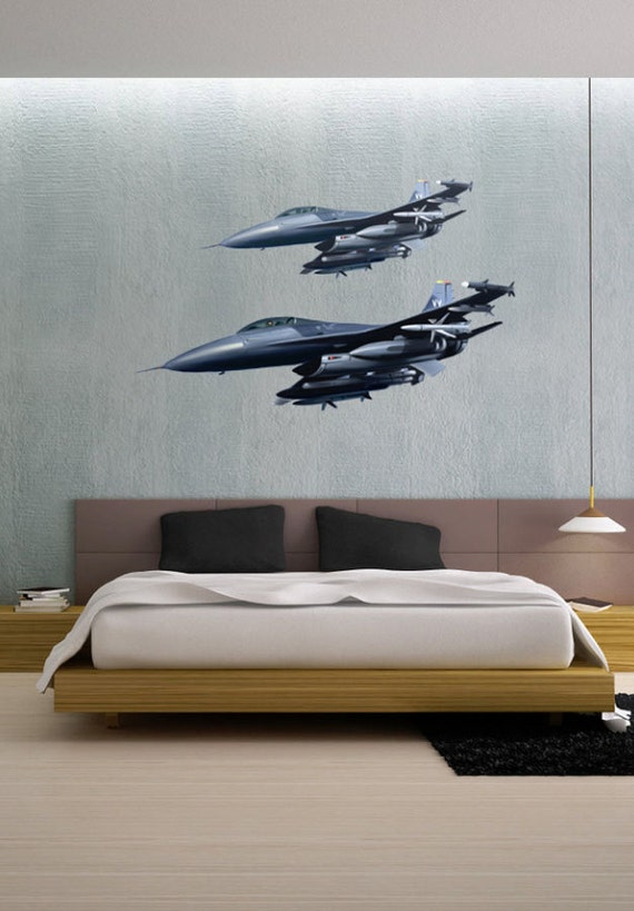 Airborne Fighter Jets Aircraft Vinyl Wall Decal Full Color