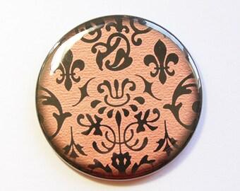 Pocket mirror, purse mirror, damask mirror, damask pocket mirror, gift for her, orange, purple, pink, green (4324)