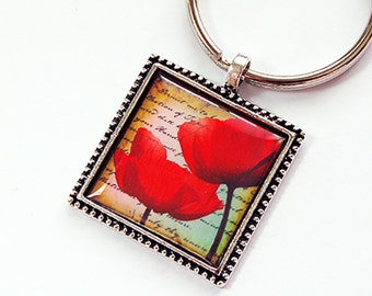 Poppy keychain, Key chain, keychain, key ring, Poppy key ring, keyring, stocking stuffer, poppies, red, under 10, flower, floral (4383)