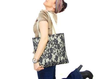 Lace Shoulder Bag, Black, Cream, Black Tote Lace, Hobo Bag, Felt Bag, Tablet Bag, Pocket bag, Soft bag, Shopping Bag