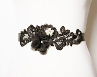 Bridal Couture Black Sash Belt - Chiffon  Lace Flower Austrian Crystals Rhinestones - Wedding Dress Sash Belts