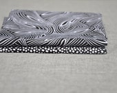 Fat Quarter Bundle Black and White Bold Abstract Cotton Quilters Weight Fabric