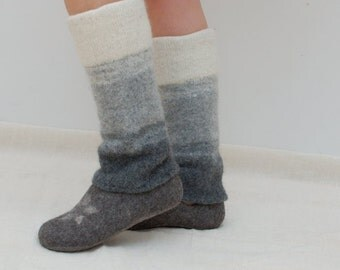 Knit leg warmers white gray ombre - white to black knit boot toppers - felt wool legwarmers - boiled wool accessory - gift for her