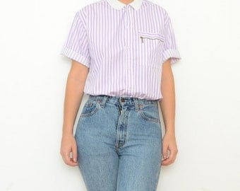 Vintage purple stripes women shirt white collar / 80s button up shoer sleeve top