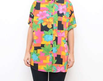 Vintage 90s oversized colorful abstract unisex short sleeve floral shirt
