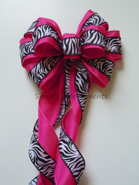 Pink Zebra First Birthday Pink Zebra Baby girl Birthday Party Decor Zebra Wedding Pew Bow Zebra Baby Shower Bow Zebra Themed Party Decor