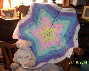CUSTOM MADE -  Crocheted Pastel Rainbow Star Baby Blanket for Car Seat, Stroller or Crib