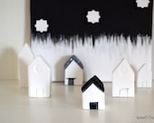 Minimal clay house, black and white, spring summer home decoration