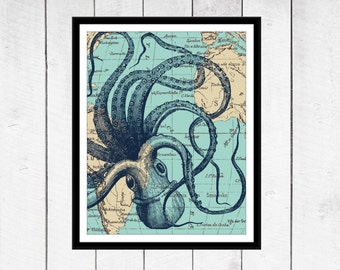 Octopus Print - Nautical Nursery -  Beach Decor  - Your choice of Size, Colors and Background