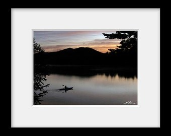 Kayaker at sunrise, PRINT Fine Photo Room Decor with quotes, Artwork Mirror Lake  Placid, Wall, Kayak, Rural, gift for boyfriend him men dad