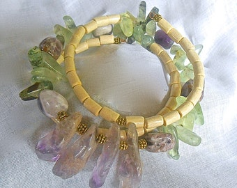 Prehnite Spikes Facetted Amethyst Points Tumbled Amethyst Beads Wood Memory Wire Bracelet  OOAK Tibetan Gold Spacers Moss Purple