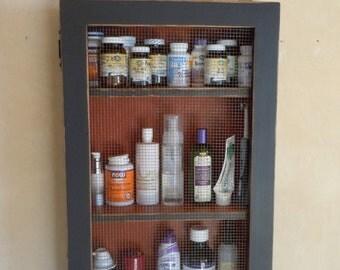 """Rustic Bathroom/Kitchen/Bedroom/Nursery Cabinet- 4.5"""" shelf - 3 Shelf with Wire Door - Black and Red"""