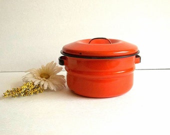 Vintage Orange & Black Enamelware pot with lid, enamel pot w handles, Mid Century kitchen, Retro cooking saucepan graniteware granite ware