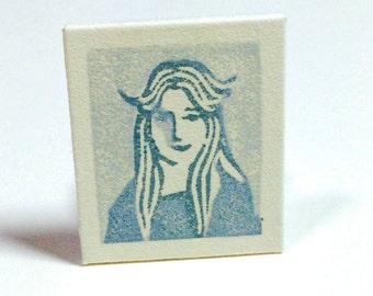 "Miniature Portrait,  LISA JOHNSON, HomeRoom, 1978"", linoleum print, Original Artwork"