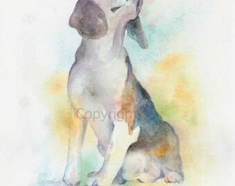 Dog, dog print, animal print, giclee, art, Watercolor, watercolor art print, BEAGLE DOG---Original watercolor giclee print