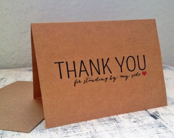 3 Bridesmaids thank you cards - Set of 3 customized thank you cards with wedding date