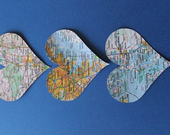 3 Personalized Map Hearts- UNFRAMED