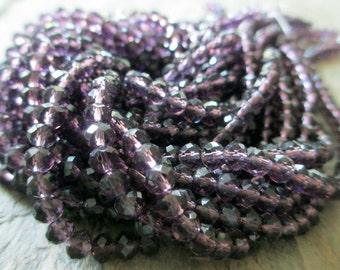 3 mm x 4 mm faceted crystal glass rondelle bead clear plum deep purple aubergine fall autumn winter, lot of 50 pcs