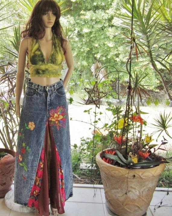Bohemian long silk and denim skirt perfect for summer festival clothing especially grateful dead festival