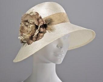 Kentucky Derby White Womens Hat, Summer Straw Cloche Hat