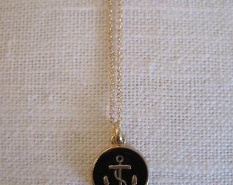 Gold Anchor Necklace - Anchor Necklace - Nautical Necklace - Beach Necklace - Black and Gold Necklace