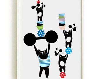 Black cats in the circus 2 - Cat poster  11 - art print by nicemiceforyou