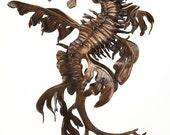 Bronze sculpture leafy sea dragon seahorse by Kirk McGuire