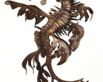 Bronze sculpture leafy sea dragon seahorse by Kirk McGuire