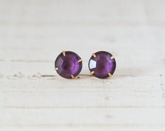 Deep Purple Stud Earrings, Purple Post Earrings, Rhinestone Stud Earrings